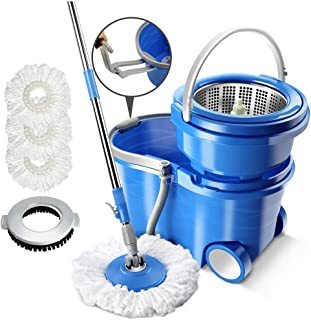 Magic Spin Mop and Bucket Sets with Wheels,3 Replacement Microfiber Wringer Mop Heads & 1 Floor Brush Head Stainless Steel...