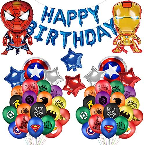 50 PCS Kit de Decoraciones de Cumpleaños de Superhéroes, para niños Decoraciones de Cumpleaños Fiesta Marvel, Suministros de Fiesta Temáticos de Superhéroes