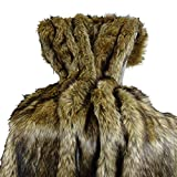 Thomas Collection Brown Fur Throw Blanket and Bedspread - Brown Wolf Faux Fur - Light & Dark Brown Faux Fur - Luxury Throw Blanket & Bedspread, Made in US, 16406