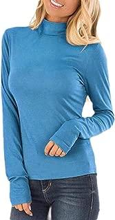 Macondoo Women's Slim Tee Long Sleeve Top Turtle Neck T-Shirts