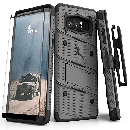 ZIZO Bolt Series Samsung Galaxy Note 8 Case Military Grade Drop Tested with Tempered Glass Screen Protector Holster Metal Gray Black