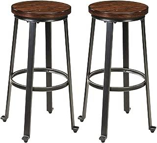 Ashley Furniture Signature Design - Challiman Bar Stool - Pub Height - Set of 2 - Rustic Brown (Renewed)