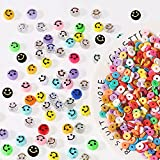 100 Pcs Smiley Face Beads,500Pcs Colorful Polymer Clay Beads, Happy Face Spacer Beads for DIY Jewelry Bracelet Earring Necklace Craft Making Supplies