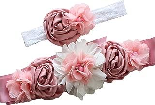 Moda Para Mujer De Seda De SatéN Sash CinturóN De Flores CinturóN Para La Boda Nupcial Retro Rosa Perla Maternidad Sash Diadema