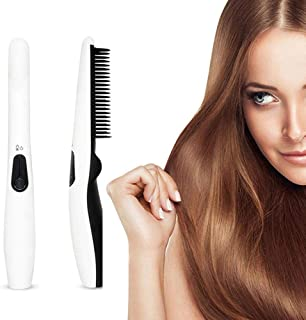 Ionic Hair Straightener Brush, Hamkaw 2019 Cordless USB Rechargeable Hair Straightening Brush Electric Hot Comb - Negative Ionic Anti Frizz & Scald, Ceramic Heat Straightening Comb for Home Travel