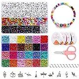 Perline Colorate Lettere Kit, Perline Colorate per Fare Collane Bracciali Kit Lavorazione,...
