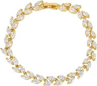 EVER FAITH Glamorous Cubic Zircon Wedding 2 Layers Small Leaf Roman Tennis Bracelet for Brides