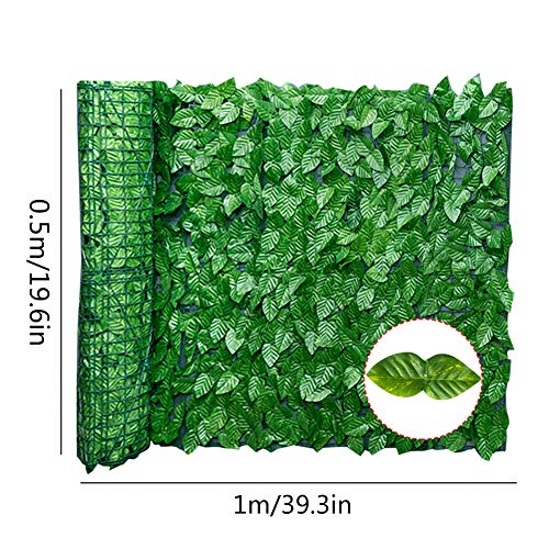 Yeyll Artificial Faux Ivy Hedge Privacy Fence Screen,Fake Leaf Balcony Fencing Decorative Trellis Privacy Screen Mesh,Vine Greenly UV Procted Wall Decore for Outdoor Decor, Garden, Yard - Green