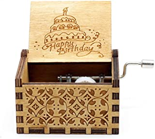 Music Box Happy Birthday Gifts for Boys, Girls, Friends - 18 Note Mechanism Wooden Hand Cranked Music Box