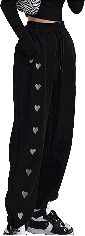 Litetao Fashion Women Casual Heart Printed Loose Drawstring High Waist Ladies Wide Long Pants