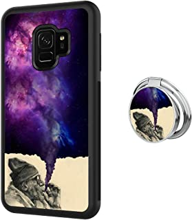 Designed Smoking Old Man Samsung Galaxy S9 Case with Buckle Ring 360° Rotatable Silvery Durable Ring Buckle, TPU Black Antiskid Tread Phone Case for Samsung Galaxy S9