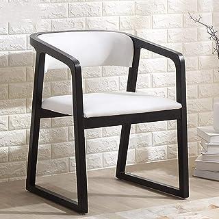 QFWM Sillas de comedor de madera maciza, silla de comedor de cuero para sala de estar y comedor, muebles de cocina y comedor (color: blanco con reposabrazos, tamaño: S)