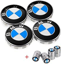 Enseng Set of 4 - BMW Wheel Center Caps Emblem, 68mm BMW Rim Center Hub Caps for All Models with BMW Wheels Logo Blue & White Color