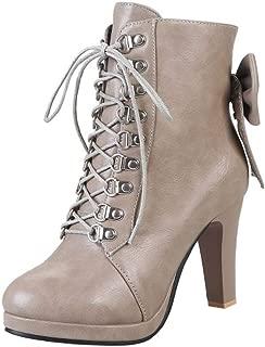 Melady Women Classic Martin Booties Block Heels