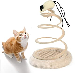 Andiker Interactive Cat Toy, Cat Plush Toy with Spiral Spring Plate and Funny Ball or Mouse Interactive Stainless Steel Spring Rotating Cat Creative Toy to Kill time and Keep Fit
