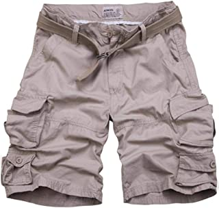 Andopa Men Straight Multi Pockets Baggy Camouflage Color Cargo Short Pants