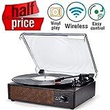 Amazon.com: 1byone Nostalgic Wooden Turntable Wireless Vinyl ...