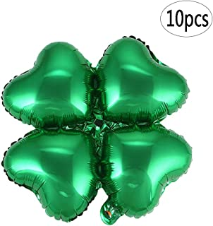 BinaryABC St Patrick's Day Decorations, St. Patricks Day Shamrock Foil Balloons, for Wedding Birthday Festival,10Pcs(Green)