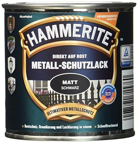AkzoNobel (DIY HAMMERITE) Metall-Schutzlack Matt Schwarz 0,250 L, 5134931
