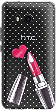 Toik Slim TPU Phone Case for HTC U19e U11 Life Desire 12 Plus Ultra One X10 Protective Design Polka Dot Cute Lightweight Silicone Print Flexible Lipstick Girls Girly Pink Gift Cover Clear Women