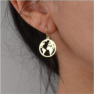 TseanYi Map Dangle Earrings Gold World Map Earrings Round Globe Drop Earrings Personlized Earrings Jewelry for Women and G...