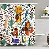 EARVO LYEA703-72 Duschvorhang mit Waldmusikern, Dschungel, Karneval, Kunstdruck, für Kinder, Teenager, Badezimmer, Dekoration, 183 x 183 cm, wasserdichtes Polyester mit Haken