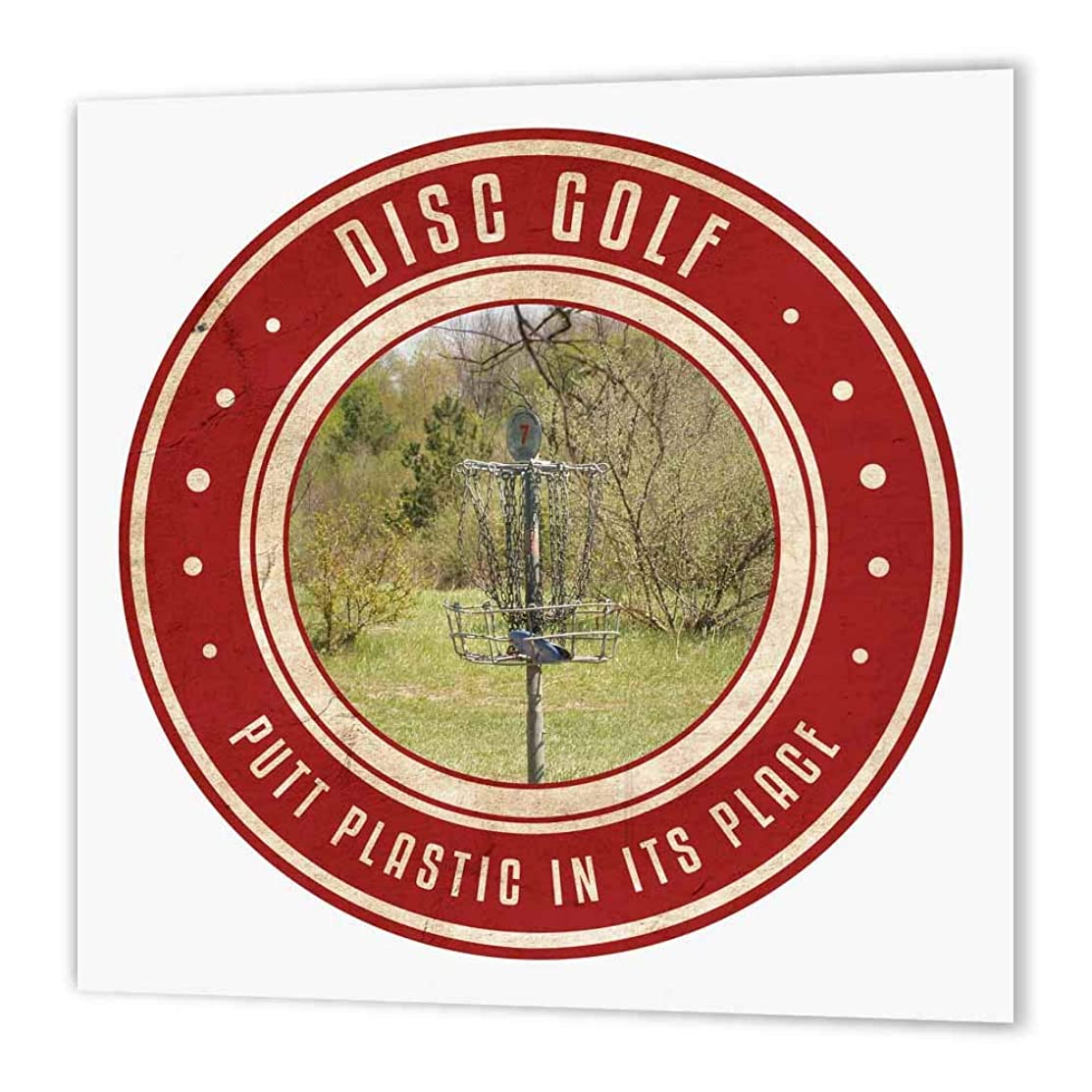3dRose ht_39410_2 Putt Plastic in its Place No.13-Photography of a Frisbee Disc Golf Basket-Iron on Heat Transfer Paper for White Material, 6 by 6-Inch