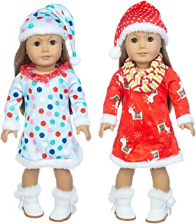 iBayda 2 Sets Christmas Doll Clothes Accessories Include 2 Dress 2 Hats 1 Scarf and One-Pair White Boots for 18 inch American Girl Doll