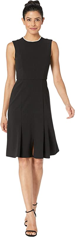 Sleeveless Crepe Dress w/ Pearl Neck Embellishment
