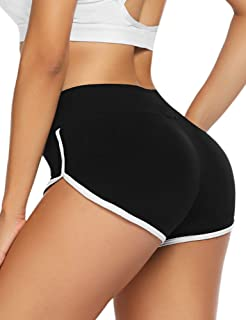 ADOME Women Sexy Booty Shorts Spandex Running Yoga Sports Plus Dolphin Shorts Athletic Black S