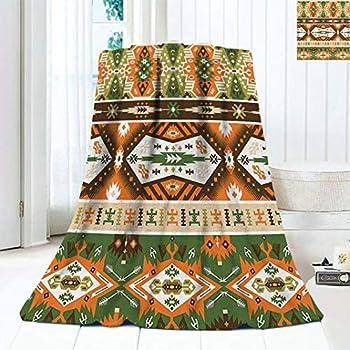 Vintage Decor Warm Microfiber All Season Blanket Design with Tattoo Aztec Style Stripes Shapes Print Print Artwork Image 90 x70  Amber Fern Green Brown