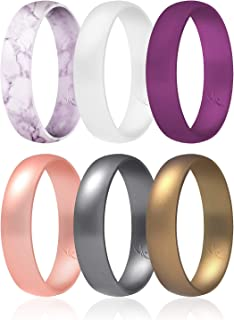 ROQ Silicone Wedding Ring for Women, Thin, Affordable 6mm Metallic Silicone Rubber Wedding Bands, Comfort Fit, Singles & 4...