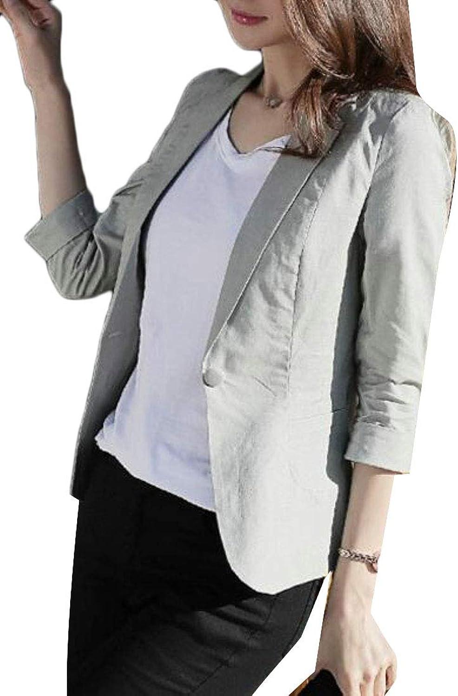 Nanquan Women 3 4 Sleeve Cotton Linen Slimming Casual Suit Summer Blazer