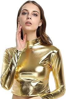 Women's Shiny Metallic Turtleneck Long Sleeve Crop Top