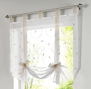 LivebyCare 1pcs Floral Embroidered Tie-Up Roman Shades Tap Top Sheer Balcony Window Balloon Curtain Voile Drape Bowknot Drapery Valance Panels for Play Room Decor Decorative