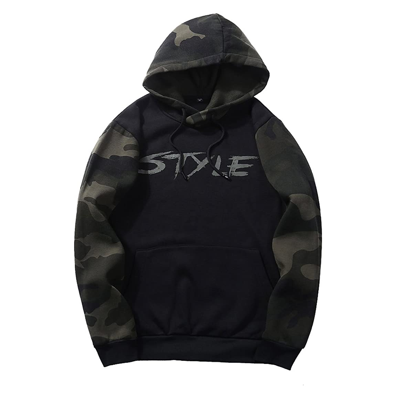 XBRECO Mens Camo Long Sleeve Hooded Sweatshirts,Hoodies Coats Fall Casual Pullovers Pockets