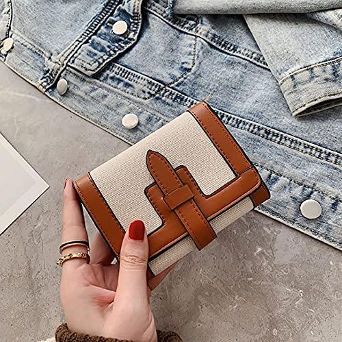 Vävd duk lång och kort damplånbok, multifunktionskorthållare, stor kapacitet fällbart kontokort lång och kort plånbok