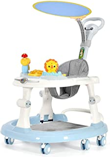 Baby Stand Walker Activity Center, Musical Walker Anti-o-Leg Multi-Function Anti-Rollover Foldable Adjustable Height with Detachable Music Toy Change Meal Plate Male Baby Girl with Awning,Blue
