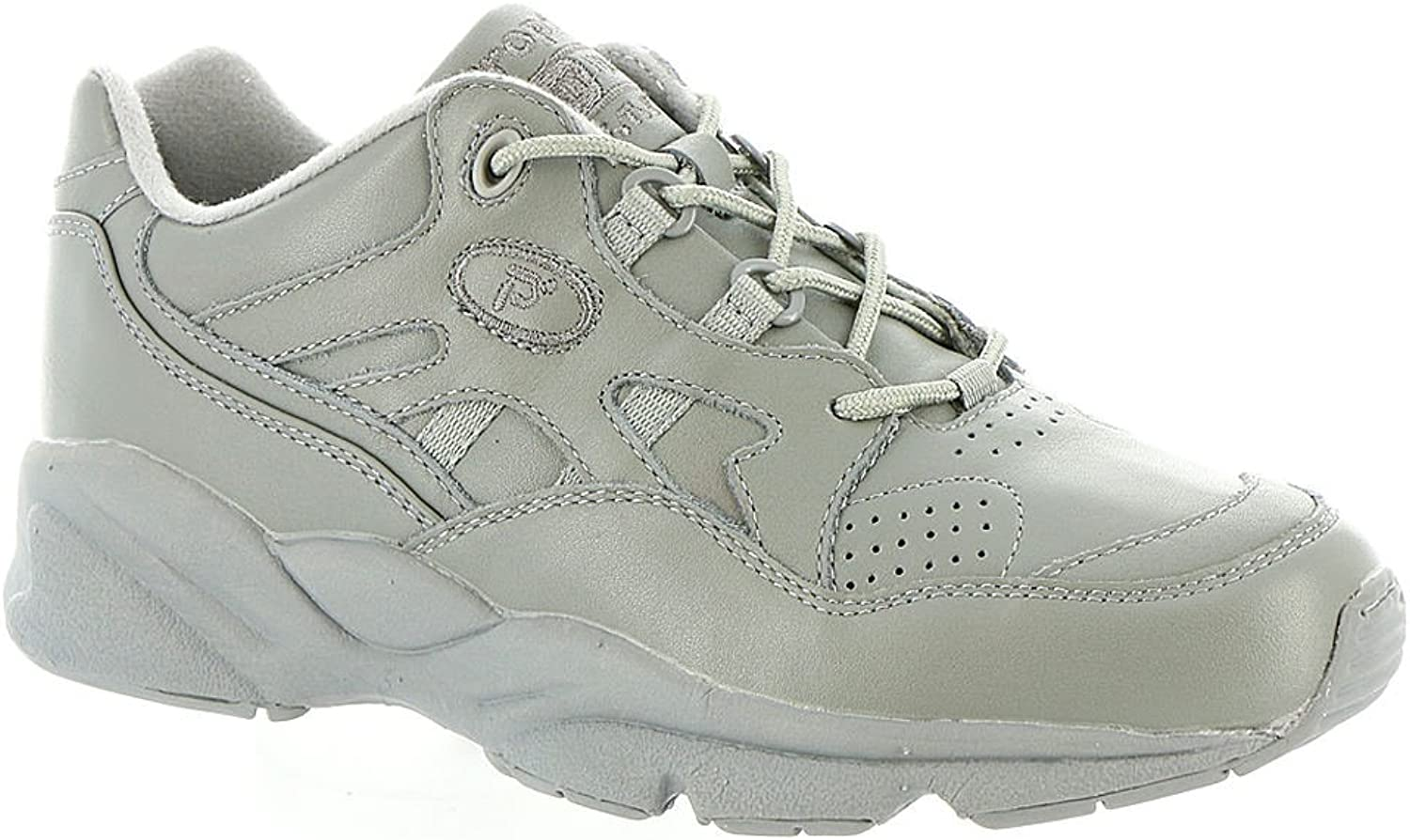 Propét Womens W2034 Suede Low Top Lace Up Walking, Grey Leather, Size 12.0