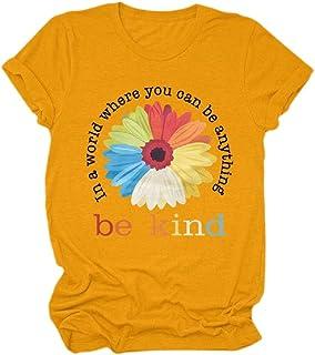 neveraway Women Fashion Crew-Neck Blouse Short Sleeve Floral Print T-Shirt