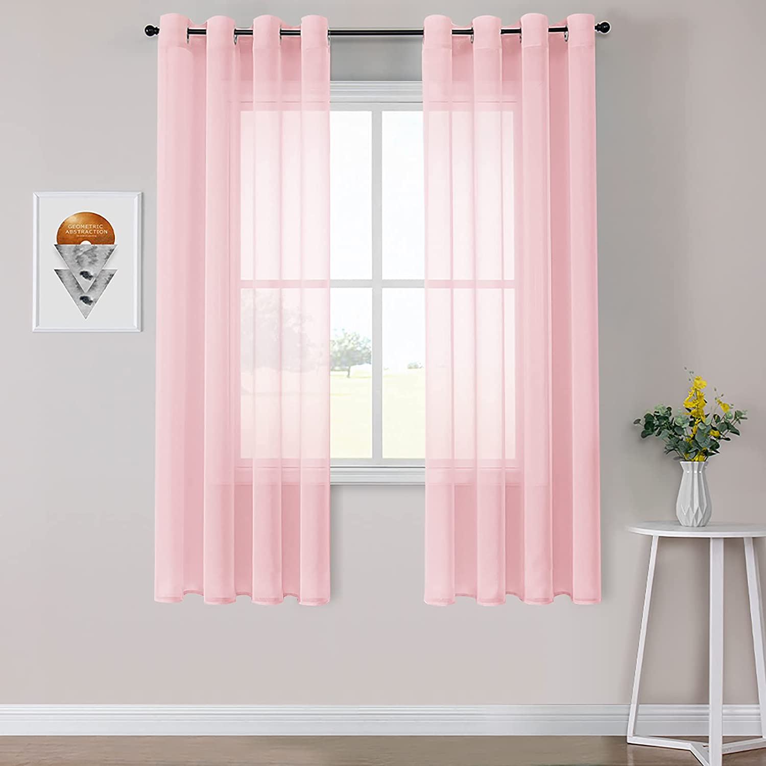 MRTREES Outlet sale feature Pink Sheer Window Curtains Grommet Free shipping on posting reviews Gauzy Top Drape