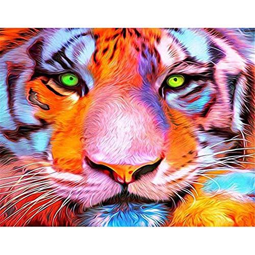5D DIY pintura diamante Kit mpleto Cristal Rhinestone manualidadesCabeza de tigre coloreado decoración pared para Imagen parael hogar Decoración de la Pared Regalo-Round diamond,50x60cm