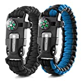 X-Plore Gear Emergency Paracord Bracelets | Set of 2| The Ultimate Tactical Survival Gear|...
