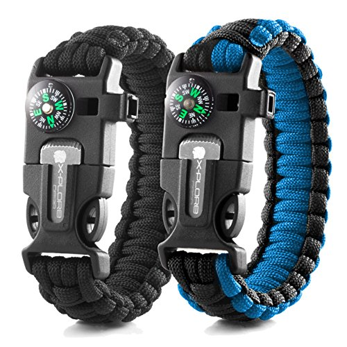 X-Plore Gear Emergency Paracord Bracelets | Set of 2| The Ultimate Tactical Survival Gear| Flint Fire Starter, Whistle, Compass & Scraper | Best Wilderness Survival-Kit - Black(R)/Blue(R)
