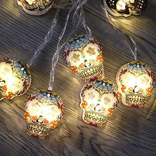 YIREAUD Halloween 3D Skull String Lights Skull Decoration String Lights 3M 20 LEDs Batteriebetrieben für Weihnachten Garten Haus Dekoration