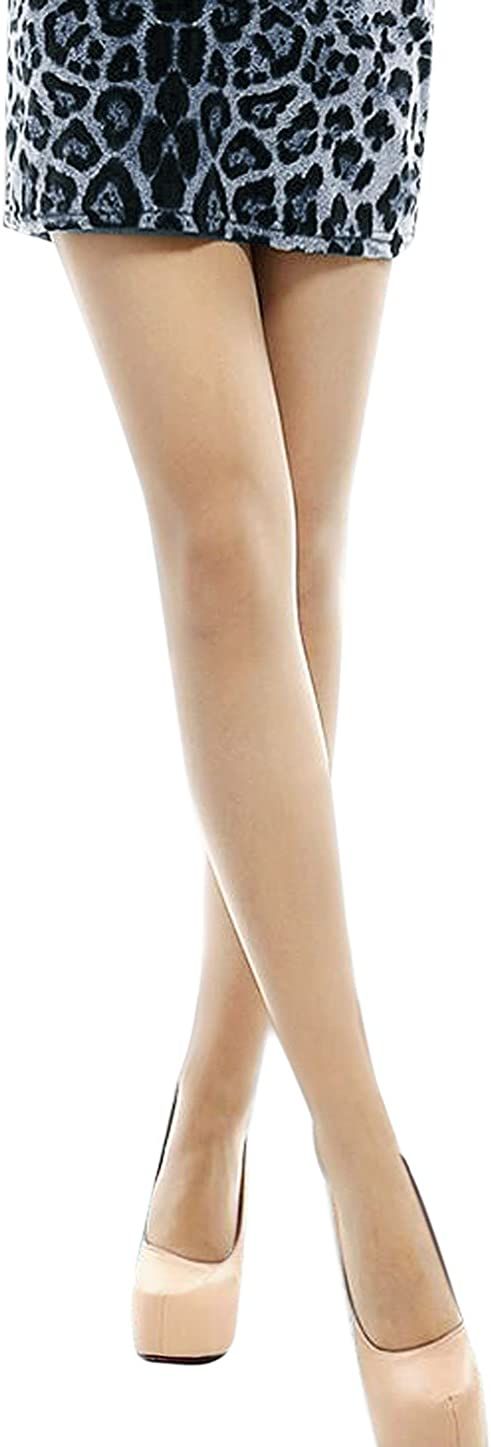 uxcell Women Semi Sheer Reinforced Top Footed Tights 6 Packs