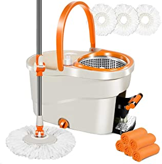 Spin Mop with Stainless Steel Foot Pedal Bucket & 3 PCS Microfiber Mop Refills, 5 Cleaning Cloths 6L Spin Mop Bucket Set for Hardwood Floor Cleaning Masthome