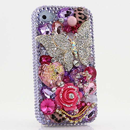 iPhone XR Case, Bling Genuine Light Purple Crystals with Butterfly Pink Rose Gold Chain Diamond Sparkle Protective Case Cover [by Luxaddiction]