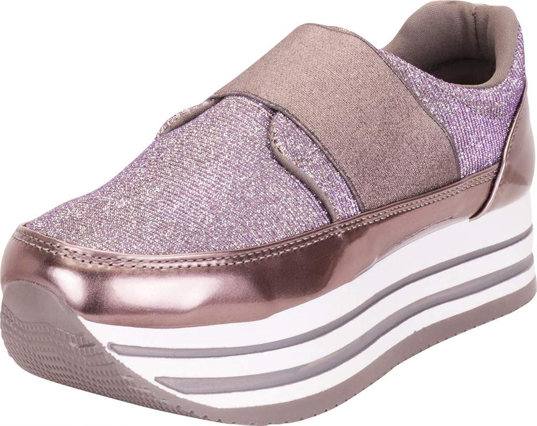 Cambridge Select Women's Glitter Stretch Slip-On Chunky Striped Flatform Fashion Sneaker