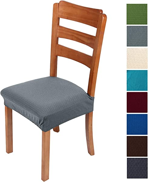 Smiry Stretch Jacquard Chair Seat Covers For Dining Room Removable Washable Anti Dust Chair Seat Protector Slipcovers Set Of 4 Light Grey
